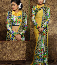 Buy yellow embroidered viscose saree With Blouse viscose-saree online
