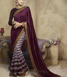 Buy wine embroidered viscose saree With Blouse viscose-saree online