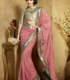 Buy pink plain viscose saree With Blouse viscose-saree online