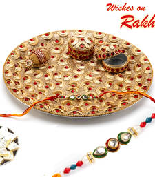 Buy Beautiful Red Stone Studded Thali & Rakhi Hamper rakhi-international online