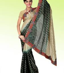 Buy Shaded beige and grayish black viscose saree with blouse (anj578) viscose-saree online