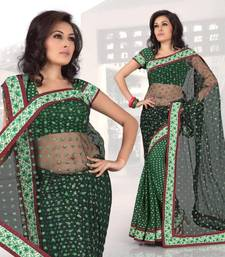 Buy Green viscose saree with unstitched blouse (268) viscose-saree online