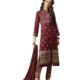 Buy Maroon embroidered cotton unstitched salwar with dupatta gifts-for-sister online