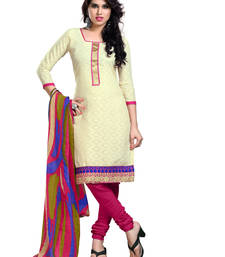Buy Off-white embroidered cotton unstitched salwar with dupatta gifts-for-sister online