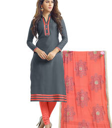 Buy Grey embroidered banarasi chanderi unstitched salwar with dupatta gifts-for-sister online
