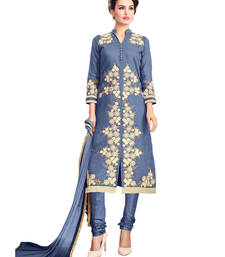 Buy Blue embroidered cotton unstitched salwar with dupatta gifts-for-sister online