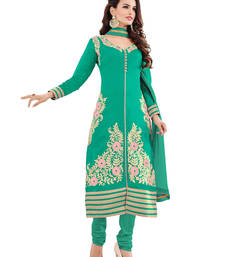 Buy Aqua green embroidered cotton unstitched salwar with dupatta gifts-for-sister online