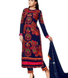 Buy Navy blue embroidered georgette unstitched salwar with dupatta gifts-for-sister online