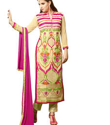 Buy Beige embroidered georgette unstitched salwar with dupatta gifts-for-sister online