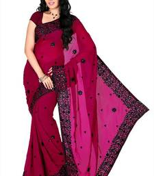 Buy Dark magenta faux georgette saree with unstitched blouse (myr1230) georgette-saree online