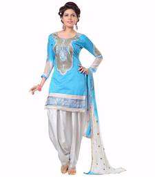 Buy Blue embroidered chanderi and cotton unstitched salwar with dupatta dress-material online