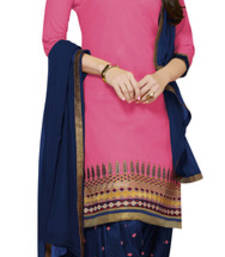 Buy Rose pink cotton embroidered unstitched salwar with dupatta patiala-salwar online