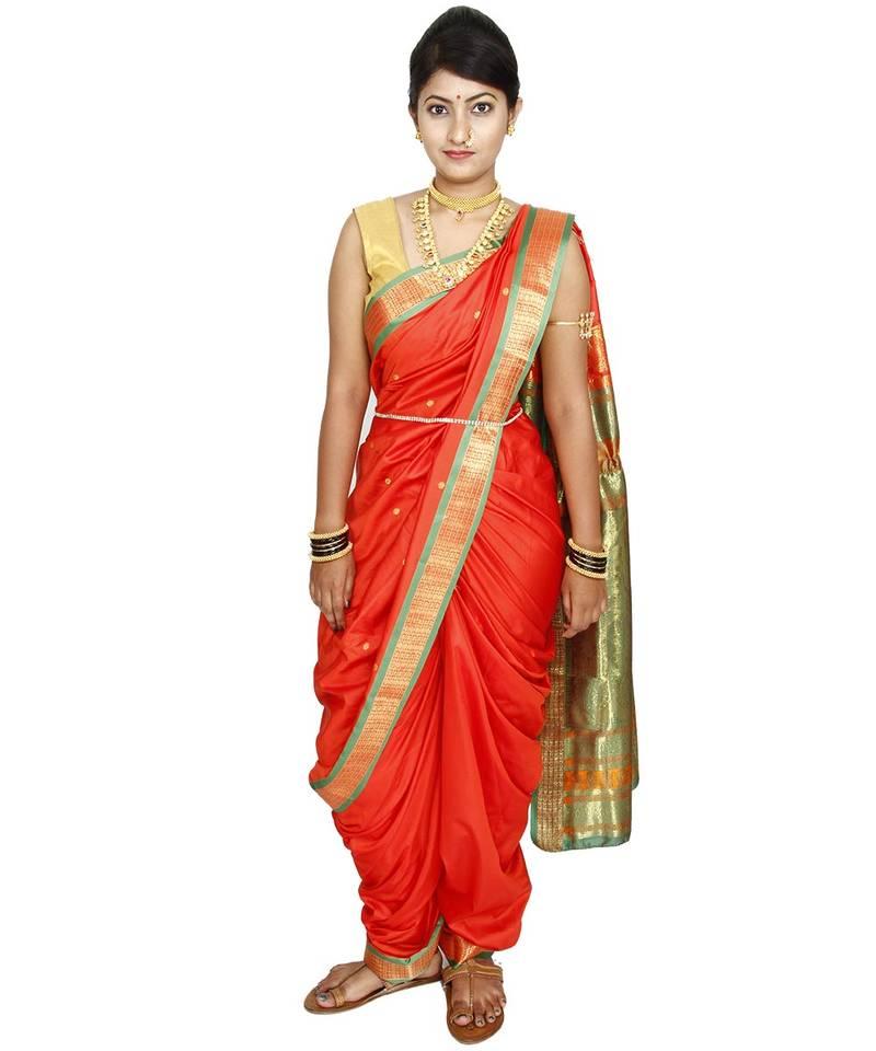 Buy Orange Plain Cotton Silk Nauvari Saree Online
