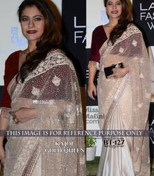 Buy off white embroidered net saree With Blouse kajal-agarwal-saree online