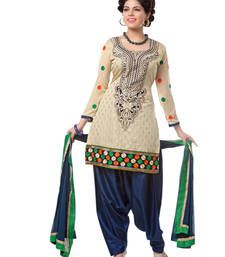 Buy Gold chanderi embroidered unstitched salwar with dupatta patiala-salwar online