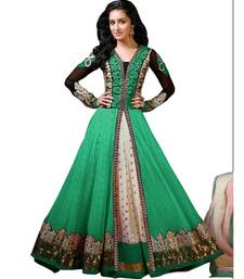 Green georgette and net embroidered semi stitiched salwar with dupatta shop online