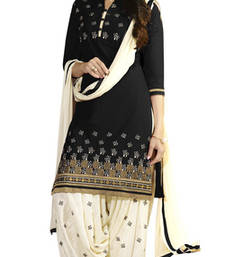 Buy Black cotton embroidered unstitched salwar with dupatta patiala-salwar online