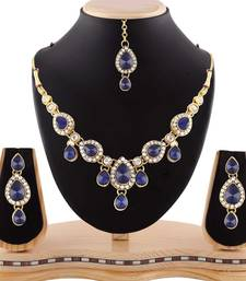 Buy Gracefull Design Blue Austrian Stone Gold Finishing Necklace Set with Maang Tikka curated-jewelry online