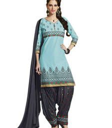 Buy Aero cotton embroidered unstitched salwar with dupatta patiala-salwar online