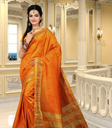 Buy antique gold hand woven dupion silk saree With Blouse dupion-saree online