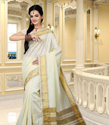 Buy wHITE hand woven dupion silk saree With Blouse dupion-saree online