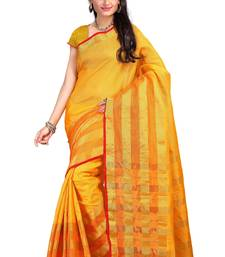 Buy yellow hand woven katan silk saree With Blouse kota-silk-saree online