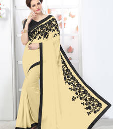 Buy Beige embroidered chiffon saree with blouse chiffon-saree online