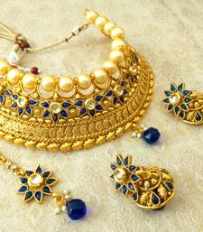 Buy Stunning Blue Bridal Pearl Choker Necklace Set With Maang Tikka necklace-set online