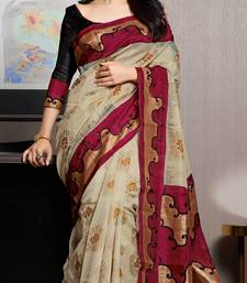 Buy Beige printed Bhagalpuri Silk saree With Blouse party-wear-saree online