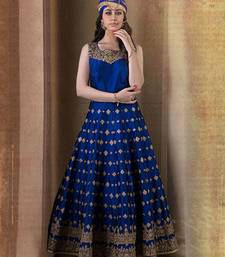Buy blue bhagalpuri silk embroidered semi stitiched salwar with dupatta party-wear-gown online