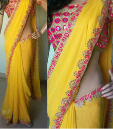 Buy yellow embroidered faux georgette saree With Blouse georgette-saree online