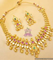 Buy Elegant Kundan Gold Look Matar Maala Necklace Necklace online