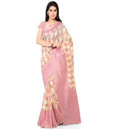 Buy peach plain net saree With Blouse chanderi-saree online