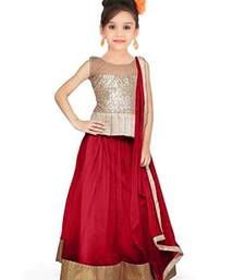 Buy Beige zari art silk kids lehenga choli kids-lehenga-choli online