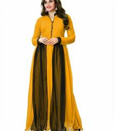 Buy Yellow georgette plain stitched party wear gowns party-wear-gown online