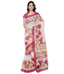 Buy white printed cotton saree printed-saree online
