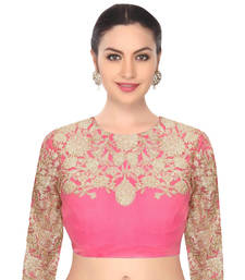Buy Pink raw silk embroidered unstitched blouse fabric blouse-fabric online