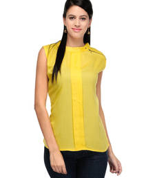 Buy Yellow rayon tops party-top online