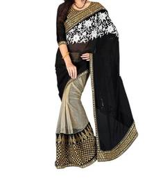 Buy black embroidered faux georgette saree With Blouse brasso-saree online