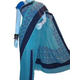 Buy Blue  patli with embroidery work in patli border and  pallu cotton tant saree cotton-saree online