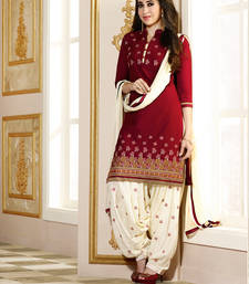 Buy Red cotton embroidered semi stitched salwar with dupatta party-wear-salwar-kameez online