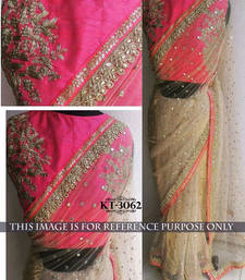 Buy Beige embroidered Net saree With Blouse bridal-saree online
