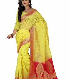 Buy yellow hand woven banarasi silk saree With Blouse banarasi-silk-saree online