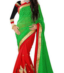 Buy sareeka sarees red and green gerogette saree with blouse piece banarasi-silk-saree online
