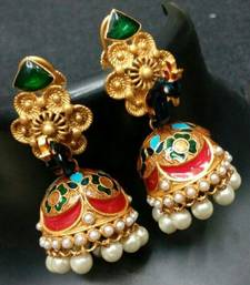 Buy  BEAUTIFUL PEACOCK DESIGN MEENAKARI JHUMKA  gifts-for-her online