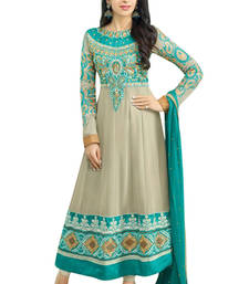 Buy Grey georgette embroidered unstitched salwar with dupatta dress-material online