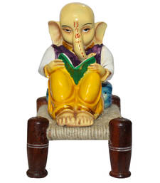 Buy Ganesha reading book on charpai statue ganesh-chaturthi-gift online
