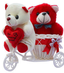 Buy Cute red love couple teddy baer with basket cycle valentine gift set gifts-for-girlfriend online