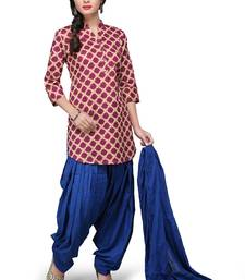 Buy Maroon printed cotton readymade salwar with dupatta readymade-suit online