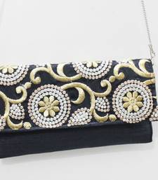 Buy Black Gold Silk Zari Embroidery Clucth with Side Sling clutch online
